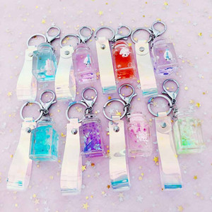 Fashion Dried flower unicorn milk acrylic Keychain Moving Liquid oil Keyring Decompression Key Chain drift bottle Best Gift