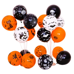 festival de globos al por mayor-Halloween Balloon Latex Bat Printing Multi Styles Balloons Festival Party Black Orange Decorative Airballoon Nueva llegada xsa L1