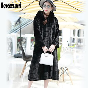 Wholesale Nerazzurri Faux Fur Coat With Hood Plus Size Casual Loose Striped Fake Fur Jacket Women Long Sleeve Rex Rabbit Fur Overcoat SH190930