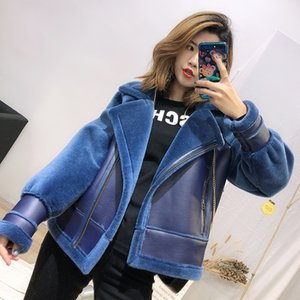 Wholesale 2019 New Real Fur Coat Women s Real Sheep Wool Fur Locomotive Leather Jacket Ladies Warm Jackets Short Coat Overcoats Femme