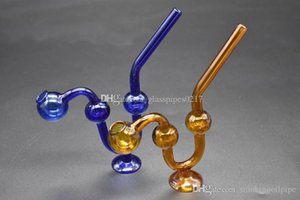 Wholesale HOT on sale Smoking Dogo Curved Glass Oil Burner Colorful Oil Rigs balance on stand Glass Spoon Pipes thick smoking water pipe