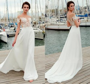 Wholesale Fashion Bohemian Cheap Wedding Dresses Bridal Gown Sheer neck with Short Sleeves Applique Chiffon Beach Boho Hollow Back Cheap Wedding Dress