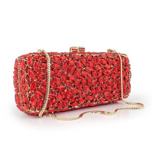 Nice Fashion Hollow Luxury Red Diamond Clutch Prom Party Evening Bags Wedding Prom Dinner Clutch Handbag(8777a-gy)