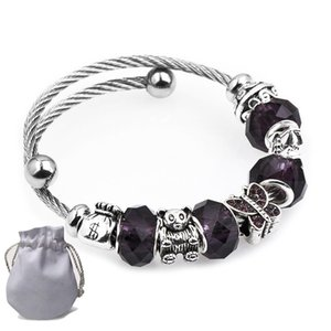 Wholesale 5pcs Stainless Steel Wire Bracelets Fit Pandora Women Faceted Murano Glass Beads Silver Purse Bear Castle Bangle Butterfly Purple P148