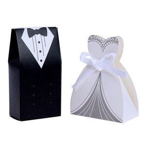 Wholesale 100Pcs Wedding Candy Box Bride Dresses Groom Suits Favor Box Wedding Candy Gift Package DIY Party Supplies