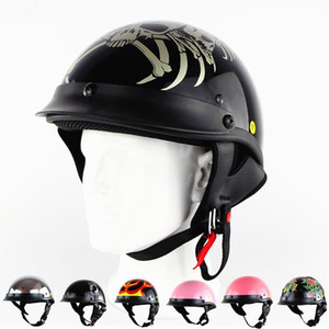 Wholesale skull half helmets motorcycle for sale - Group buy Personalized Skull Motorcycle Helmet Germany Style Harley Motor bike Casco Scooter Half Face Capacetes DOT