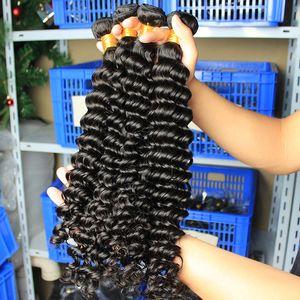 Indian Malaysian Peruvian Brazilian Virgin Hair Deep Wave Human Hair Bundles 3 Pcs Hair Extensions Dolago