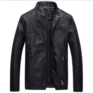 Mens Leather Jackets Autumn Winter Thick Coats Men Velvet Faux Biker Motorcycle Jacket Warm Male Outerwear SA592