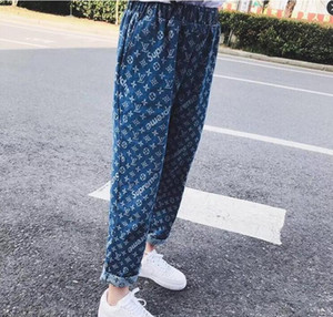 Wholesale New Kanye West jacquard jeans straight printed old flowers pants pants ventilation recreation retro men and women