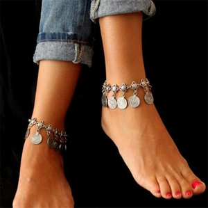 Wholesale New Gypsy Antique Silver Turkish Coin Anklet Ankle Bracelet Tassels Beach Foot Jewelry Ethnic Tribal Festival