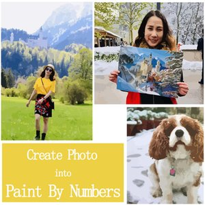 Wholesale 36 Colors Personalised Paint By Numbers Photo Custom DIY Create Photo Painting By Numbers Portrait Family Children Pets Photo SH190919