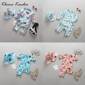 Wholesale protection one resale online - Kleine Kinder One Piece Baby Swimwear Cartoon Print Uv Sun Protection Long Sleeves Toddler Girls Boys Bathing Suit Swimsuit y Y19062801