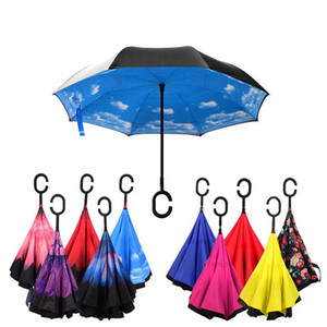 Creative Inverted Folding Reverse Umbrella Double Layer Inverted Windproof Rain Car Umbrellas with C Handle For Women MMA2955-1 on Sale