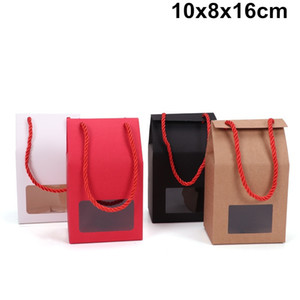 Wholesale 100 X White Black Red Brown Kraft Paper Box Square PVC Window Box With Rope Handle Gift Packing Bag x8x16cm