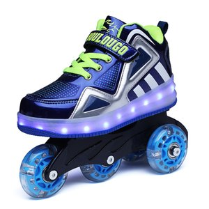 2019 hot style original fine roller skates pulley shoes adult double row wheel luminous light shoes double row roller skates deformation sho on Sale