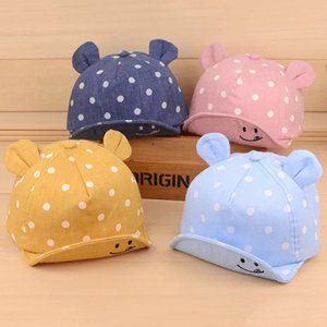 Wholesale Cute Infant Baby Kids Lovely Cap Bongrace Hat Peak Smiling Face Wave Point Baseball Cap Sunhat Toddler Boys Girls Soft