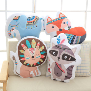 Wholesale INS Baby lion fox elephant Stuffed Toys Cute Rainbow Pillow Animal Shaped Doll Decorative Bedding Pillows for Kids Room Christmas Gift wn615