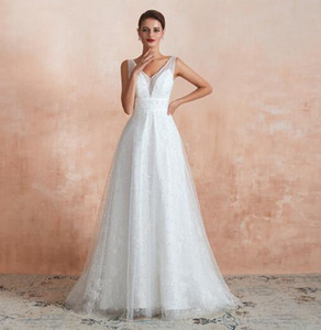 2020 Heavy Pearls V Neck Wedding Dresses Backless A Line Floor Length Designer Wedding Dresses Bridal Gown Real Image on Sale