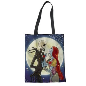 Wholesale Ladies Canvas Tote Bag Handmade Maltese Cotton Shopping School Travel Women Shoulder Bags Jack Sally Nightmare before Christmas