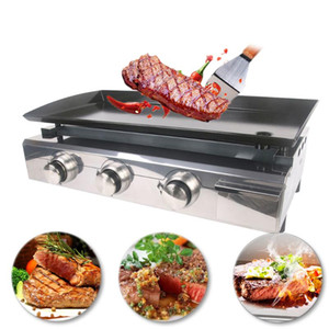 gzzt großhandel-GZZT LPG Gas Griddle Brenner Plancha Edelstahl Barbecue Grill Tischgrill Hot Plate Outdoor Barbecue Tools