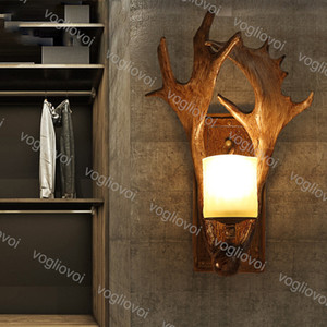 Wholesale antiques stores resale online - Wall Lamps American Rural Antlers Iron E14 Antique Lamp Body V For Livingroom Bedroom Clothing Store Club Coffee Shop DHL