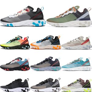 Wholesale React Element New Fashion Dark Grey mens running shoes men women Orange Peel Sail desert sand Taped Seams trainers sports sneakers