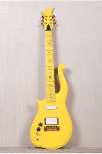 Left Handed Diamond Series Yellow Prince Cloud Electric Guitar Alder Body, Maple Neck, Wrap Arround Tailpiece, Black Knobs, White Pickups