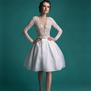 Wholesale 2019 New Vintage Short Lace Wedding Dress Knee Length V-neck A-line Pearls Long Sleeves Short Bridal Gowns Vestidos De Noiva