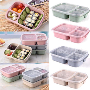 Wholesale fruit products resale online - 3 Grid Lunch Boxes With Lid Microwave Food Fruit Storage Box Take Out Container Portable Food Storage Lunch Box RRA1636