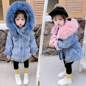 Fall Winter Denim Fur Jacket For Baby Girl Clothes Korean New Year Kid Hooded Warm Thicken Coat Children Park Clothing Costume 2-6 Year on Sale
