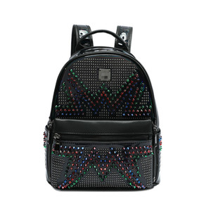 Charismatic2019 Pattern New Color Diamond Both Shoulders Package Fashion Rivet Women's European Joker Polyurethane Student Backpack on Sale