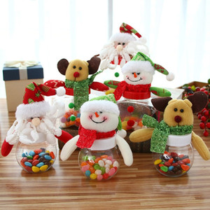 Wholesale Plastic Candy Jar Christmas Theme Small Gift Bags Christmas Candy Box Crafts Home Party Decorations