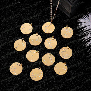 Wholesale 12 Zodiac Sign necklaces For Women Men Personalized crystal Constellations stainless steel Coin pendant Gold chains Fashion Jewelry