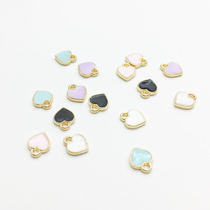 Wholesale gold floating resale online - Fashion Small Heart Shape Charms x8mm Gold Tone Oil Drop DIY Bracelet Floating Charms Jewelry Making Findings