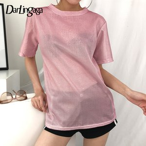 Wholesale Darlingaga Fashion Bling Pink Glitter Female T shirt Loose Transparent Long Tshirt Top Short Sleeve Summer Tee Shirt Femme