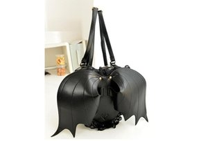 PU Leather Gothic Black BAT Wings Heart Lace Backpack Gothic Lolita Bag School Bag Backpack Punk