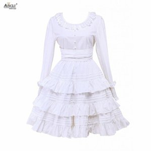 Wholesale Womens White Cotton Ruffles Jewel Neck Long Sleeves Cute Rendering and Outer Wear Middle Long Dress Lolita One Piece Dress