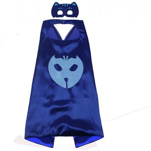 Wholesale 27 Inches PJ Costume Satin Superhero Cape with Mask for kids Double Layer boy Halloween cosplay party gifts