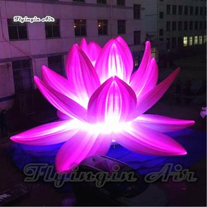 Customized Large Lighting Inflatable Lotus Flower 3m 6m Height Simulated Plants Artificial Flower For Concert And Dancing Party Decoration