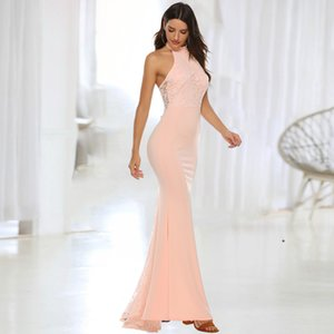 Wholesale Peach Pink Mermaid Bridesmaid Dresses Halter Neck Lace Appliqued Long Bridal Party Evening Prom Gowns LQ5204