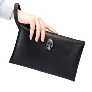 Wholesale M Yancy Men Genuine Leather Day Clutches Women Wrist Strap Cowhide Skull Hand Bags Large Capacity Document Bag Handbag Clutch