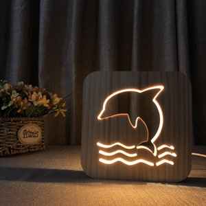 Wholesale dolphin lights for sale - Group buy Creative Wood Dolphin Night Lights LED Wood Bedside Lamp Solid Wood D Night Lamp USB Power Supply as Kids s Birthday Gift