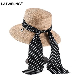 Wholesale 2019 Natural Raffia Summer Sun Hats Round Straw Hat Black And White Long Ribbon Beach Hats Elegant Large Hat For Women Visor Cap