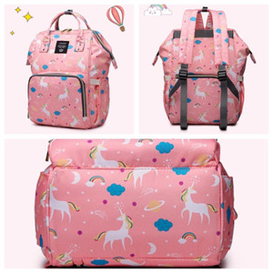 Wholesale designer backpack diaper bags resale online - Mummy Backpack Bottle Mother Maternity Backpacks Large Capacity Baby Diaper Backpack Multifunctional Unicorn Mommy Changing Bag DH1099