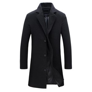 2018 Fashion Men's Wool Coat Winter Warm Solid Color Long Trench Jacket Male Single Breasted Business Casual Overcoat Parka