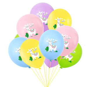 Wholesale 12inch Multicolor Cartoon Animal Alpaca Llama Latex Balloons Wedding Baby Shower Birthday Party Decor Globos
