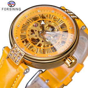 ingrosso diamante-Cintura d oro ingranaggi Movimento Diamante display Forsining giallo Genuine Leather Mens meccanico automatico da polso marca superiore di lusso