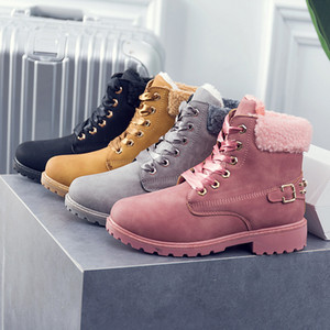 2019 New Pink Women Boots Lace up Solid Casual Ankle Boots Martin Round Toe Women Shoes winter snow boots warm british style Martin on Sale