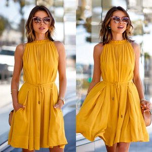Wholesale 2019 Fashion Womens Dress Women Summer Casual Sleeveless Evening Party Cocktail Beach Short Mini Dress High Quality Womens Dresses