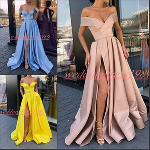 Wholesale Elegant High Split Off Shoulder Prom Dresses With Pockets Party Gowns Juniors Long Evening Dress Juniors Special Occasion Celebrity Formal